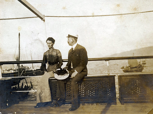 Captain Lossius and his wife aboard SS Kinshan. Hong Kong - Canton Line. 1900s.
