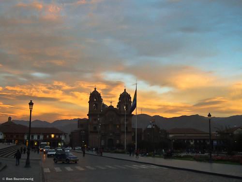 plaza blue sunset sky orange peru southamerica car yellow night cathedral cusco gray