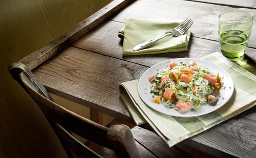 di zucchinette, salmone fresco e salsina panna limone 04
