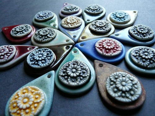 Porcelain flower drop pendants