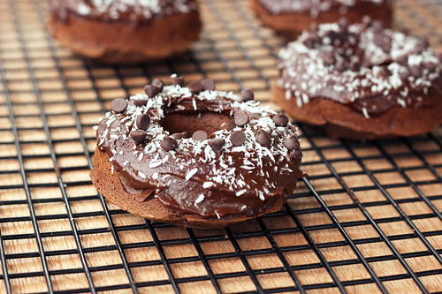 Double Chocolate Donuts with Coconut - Gluten-free, Dairy-free, Refined Sugar-free