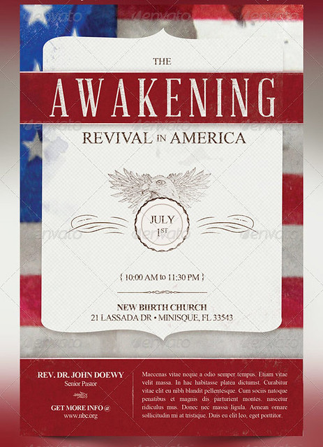 The awakening revival church flyer and cd template for Free church revival flyer template