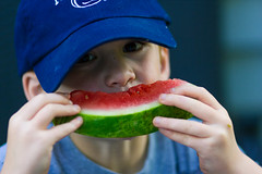 child, watermelon, sweetness, green, fruit, food, blue, eating,