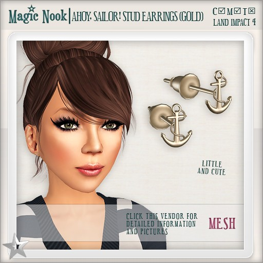 [MAGIC NOOK] Ahoy, Sailor! Stud Earrings (Gold) MESH