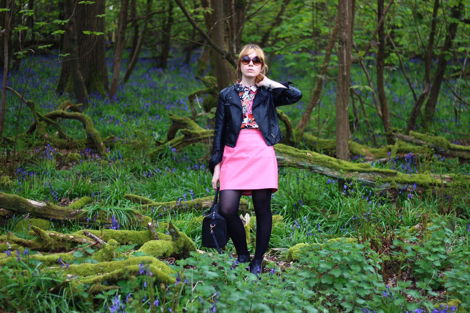 4bluebells, spring, fashion, florals, zara, high street, blog, personal style, river island, ebay, leather jacket, affordable, retro, 60's, sixties, topshop