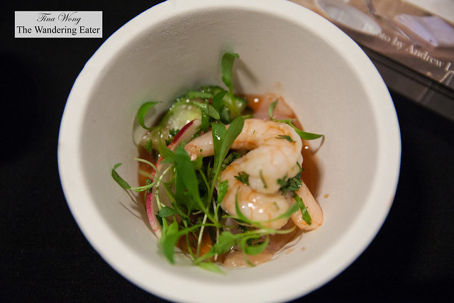 "Black sea bass and scallop ""Bloddy Mary"" ceviche by Eugene & Co."