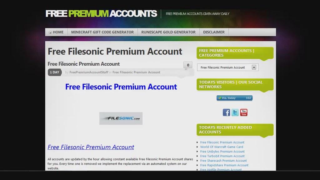 Free Filesonic Premium Account | www dailymotion com/video/x