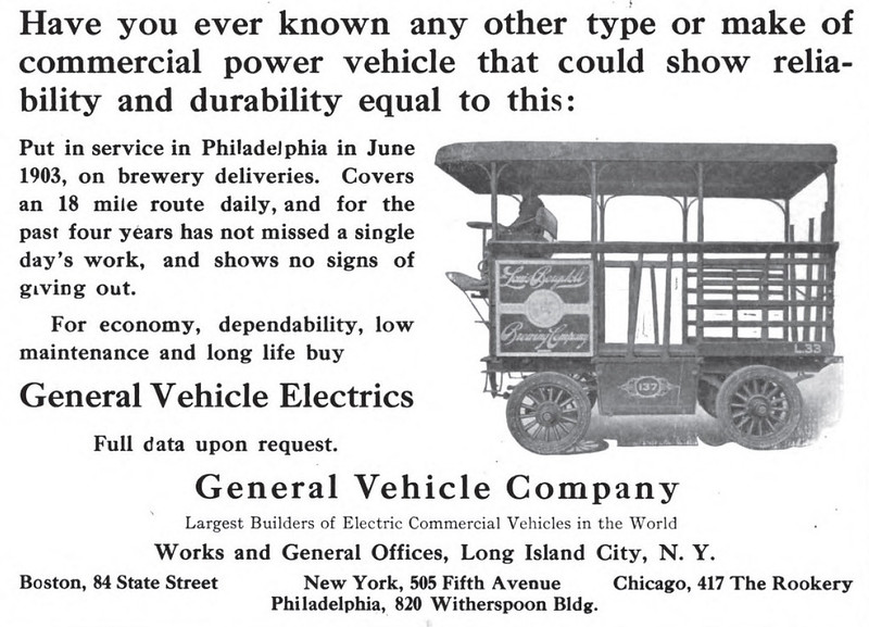 1910 G-V Electric Truck -  General Vehicle Company  Brewery Truck