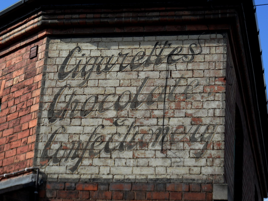 """Cigarettes, Chocolate & Confectionery"" - old painted sign"