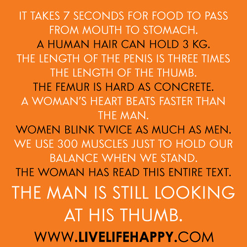It takes 7 seconds for food to pass from mouth to stomach. A human hair can hold 3 kg. The length of the penis is three times the length of the thumb. The femur is hard as concrete. A woman's heart beats faster than the man. Women blink twice as much as
