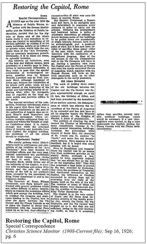 ROMA ARCHEOLOGICA - Prof. R. Lanciani, Prof. C. Ricci, & Prof. G. Giovannoni, in: 'Restoring the Capital of Rome,' Christian Science Monitor, (16/09/1926), p. 6.