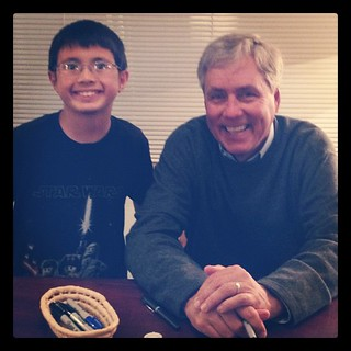 The boy with Carl Hiaasen