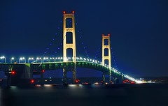 """Lite it Blue"" Mackinac Bridge - Mackinaw City, Michigan (Michigan autism-awareness campaign) by Michigan Nut"