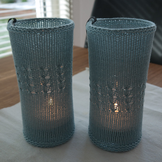 Dusty light blue candleholders
