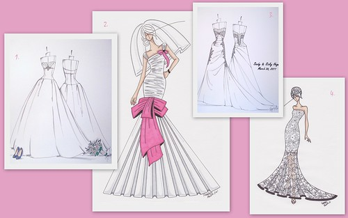 Wedding Gift Trend: Custom Bridal Gown Sketches by Nina Renee Designs