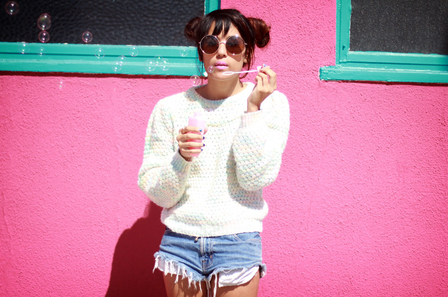 Tarte Vintage 90's Fashion Pastel Rainbow Waffle knit sweater - shoptarte.com