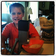 Boy powered wheat grinder #mobsociety for our #homemade butter!