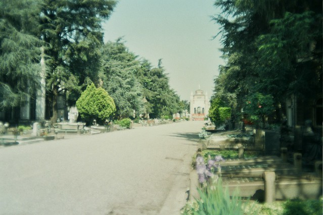 milan, italy, trip, travel, fun, city, streets, emotions, feelings, short stay, 35mm film, Fujifilm 400, cemetery, green, stones, place