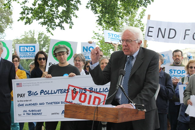 Senator Sanders speaks at the bill introduction rally