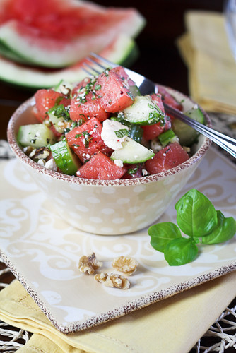 Quick, Refreshing Watermelon Cucumber Salad • The Healthy Foodie