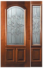 New Orleans Decorative Glass Arch Lite Mahogany Entry Door  Tall 80 P15142-G