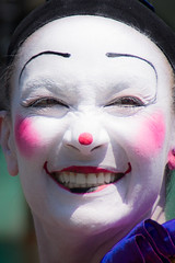 nose, face, mime artist, head, close-up, mouth, clown, person, pink,