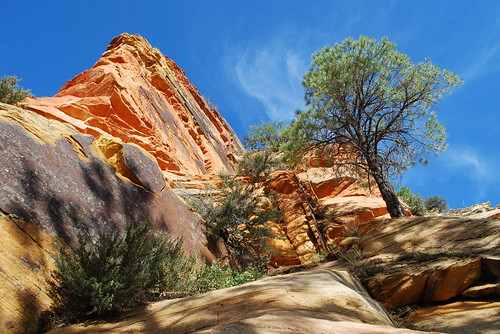 Orange rock and blue sky