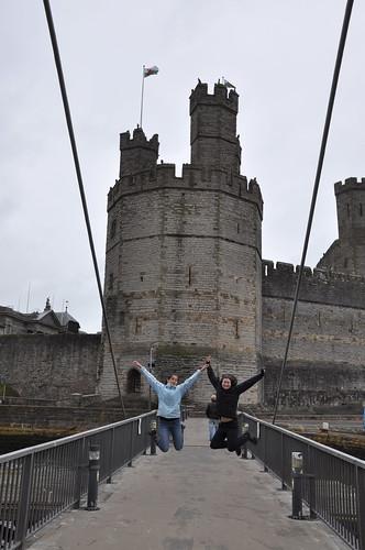 Outside Caernarfon castle