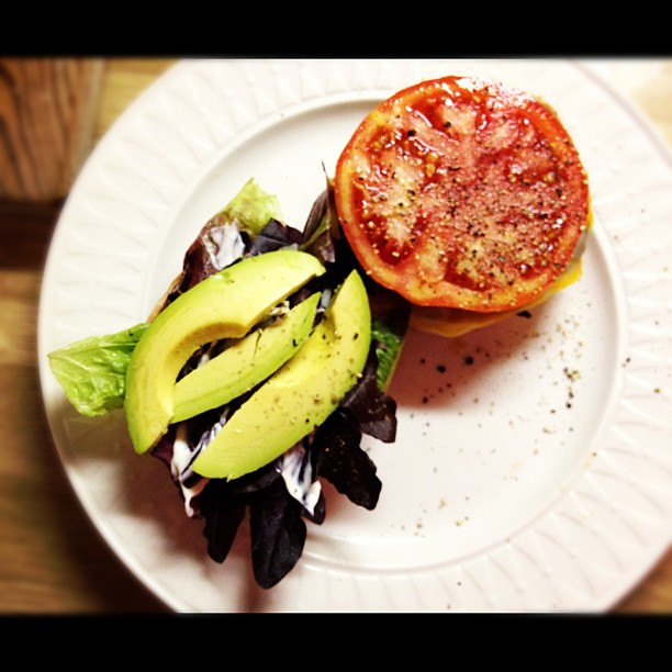 Lunch:  turkey burger with avocado and tomato.  Yum!