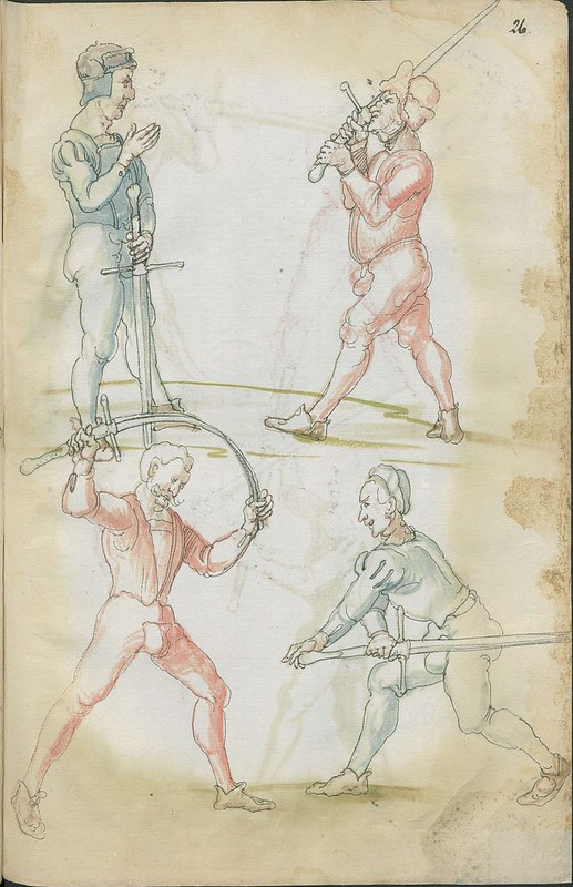 16th century sword fight manuscript drawing - Combat training 3