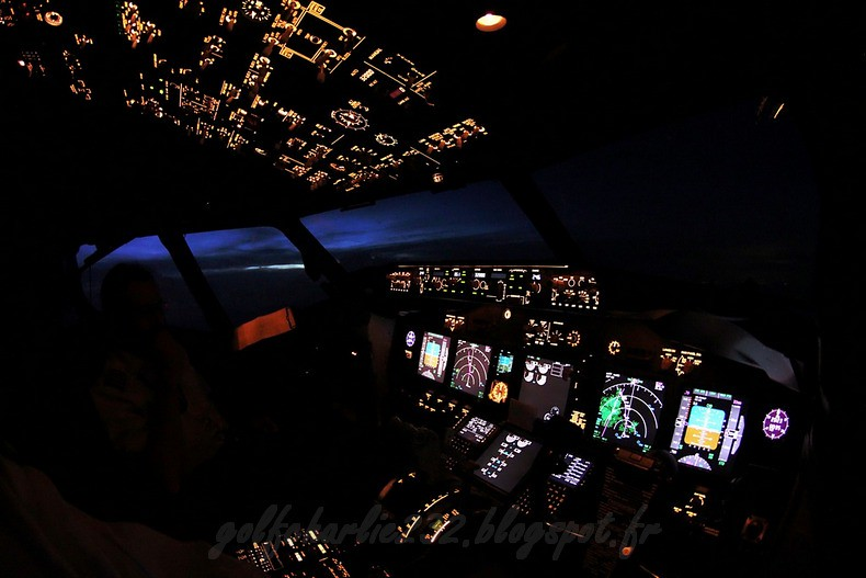 Boeing 737NG - Cockpit at twilight
