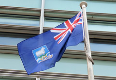 Flag of the Falkland Islands flying outside Eland House