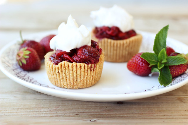 Roasted Balsamic Strawberry Mini-Tarts with Whipped Coconut Cream - Gluten-free + Vegan
