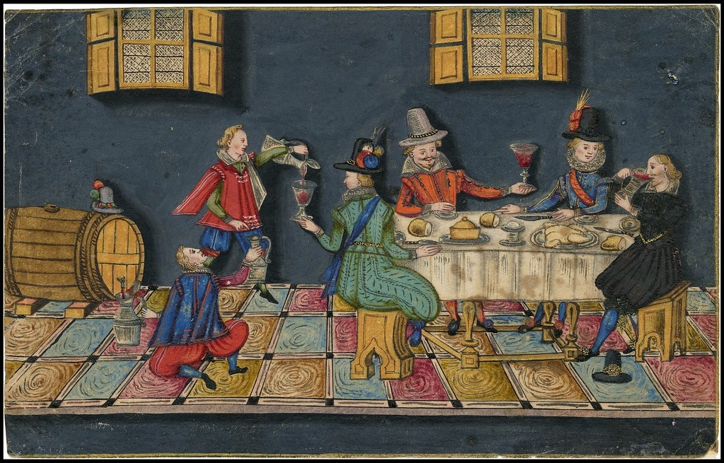 17th cent. dinner and drinking scene at dining table