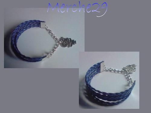 pulsera cuatriple azul con dije by llaverito1979