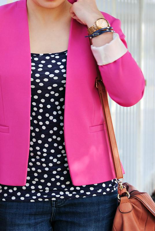 pink blazer and navy polka dots