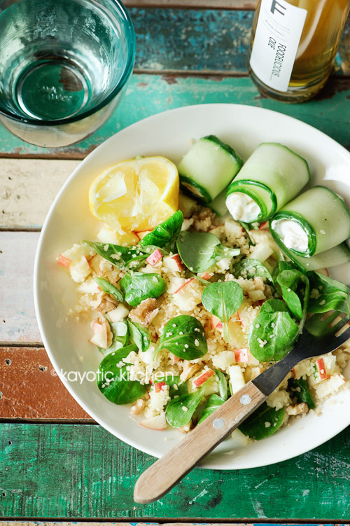 Apple Couscous & Goat Cheese Cucumber Rolls