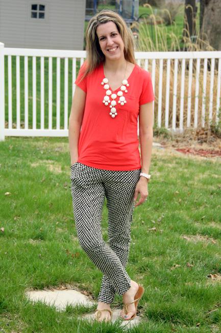 Coral-shirt-and-black-pants