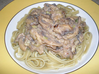 Noodles with Creamy Leak and Mushroom Sauce