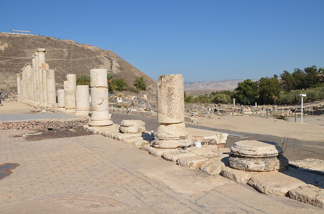 Palladius street, the 150-metre colonnaded street crossing the city from the slopes of the Tel to the theatre, built during the Roman period and renovated at the beginning of the Byzantine period, Scythopolis (Beth-She'an), Israel