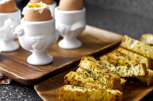 soft eggs with buttery herb-gruyere toast soldiers