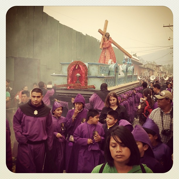 Procession during holy week in Antigua Guatemala.