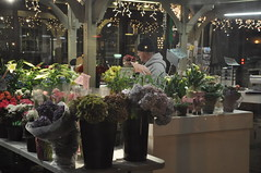 Blomsterhandel vid Quincy Market i Boston