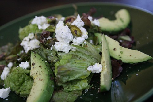 Red Leaf Salad with Avocado, Goat Cheese, and Pistachios