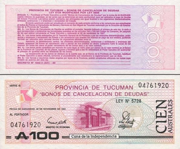 100 Austral Argentína(regional) 1991, Pick s2715