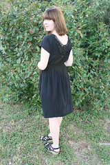 Raglan Sleeve Knit Dress w/ Crochet Back