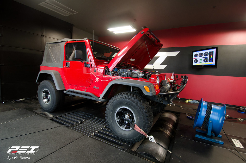 Supercharged Jeep Wrangler on the dyno at PSI