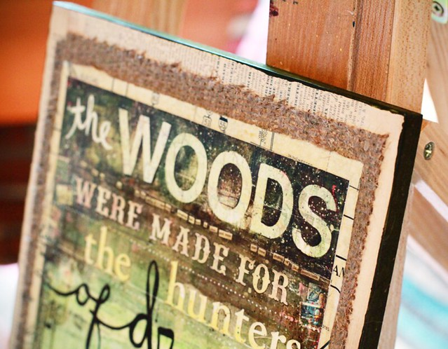 the woods, mounted on burlap and panel
