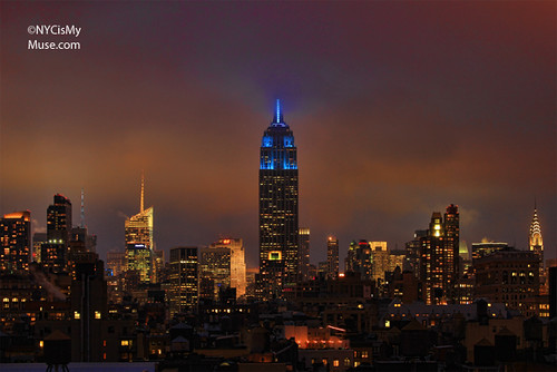 Foggy glow for the NYC skyline with the Empire State Building in Blue for the Weather Channel