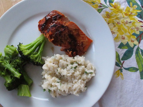 brown sugar glazed salmon with oven-baked risotto and broccoli